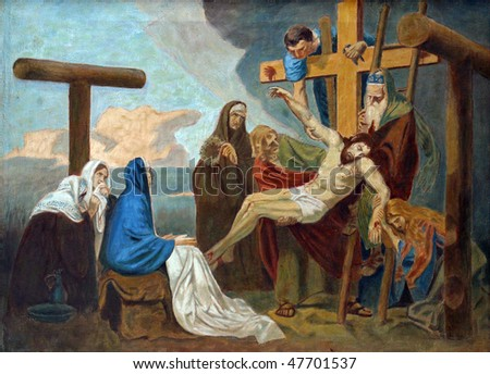 13th Station of the Cross, Jesus' body is removed from the cross - stock photo