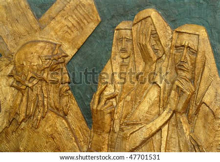 8th Station of the Cross, Jesus meets the daughters of Jerusalem - stock photo