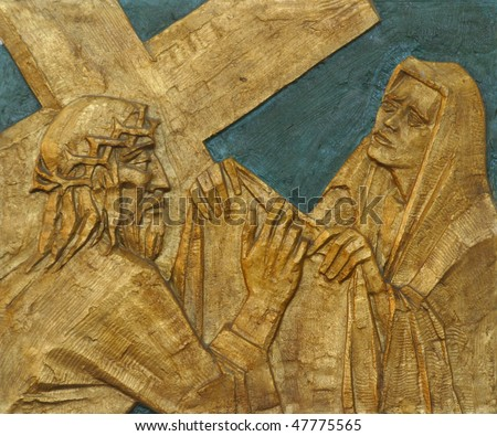 6th Station of the Cross - Veronica wipes the face of Jesus - stock photo