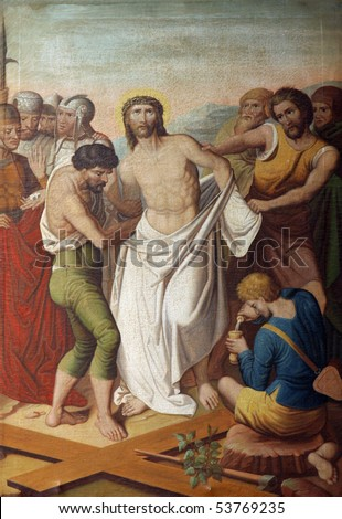 10th Stations of the Cross, Jesus is stripped of His garments - stock photo