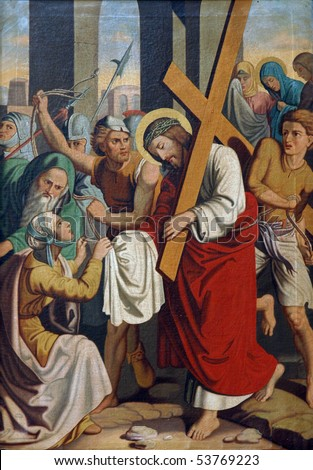 6th Stations of the Cross, Veronica wipes the face of Jesus - stock photo