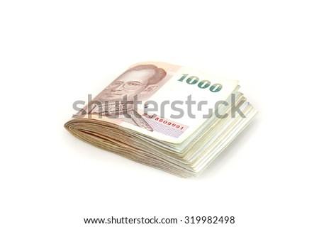 1000 Thai banknote on white background. - stock photo