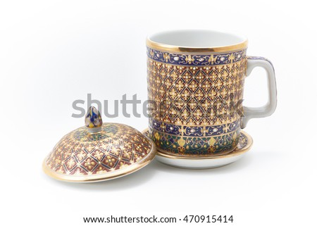 Thai Benjarong porcelain on White background