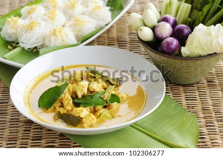 Thai cuisine - crab curry and rice vermicelli -  crab curry mixed herb - crab curry hot and spicy with noodles - crab cooked