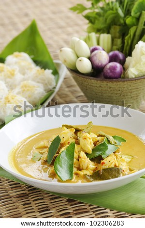 Thai Cuisine - crab curry and rice vermicelli -  crab curry mixed herb - crab curry hot and spicy with noodles