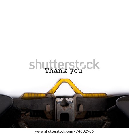 """Thank you"" message typed by vintage typewriter. - stock photo"