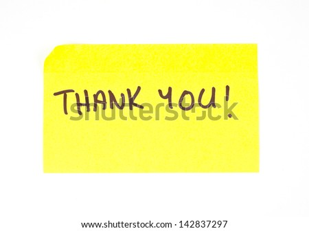 'Thank You!' written on a yellow sticky note