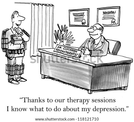 """""""Thanks to our therapy sessions I know what to do about my depression."""" - stock photo"""