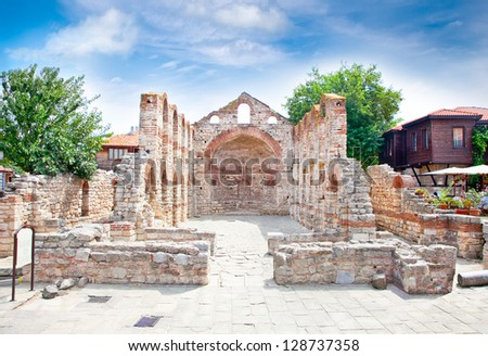 The ancient Church of St Sophia ruins in Nessebar, Bulgaria. - stock photo