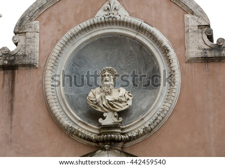 The architectural detail from the Honourable Courtyard in the Castle of Angel in Rome - stock photo