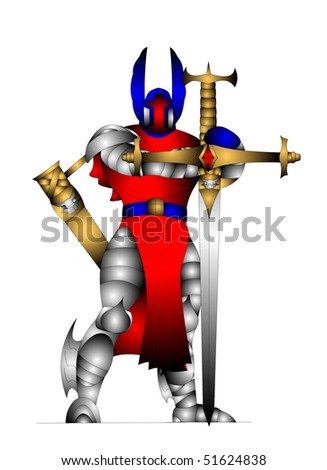 The Awesome knight in send and with weapon. - stock photo