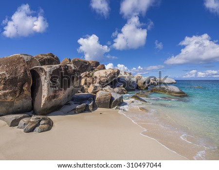 The Baths on Virgin Gorda, British Virgin Islands - stock photo
