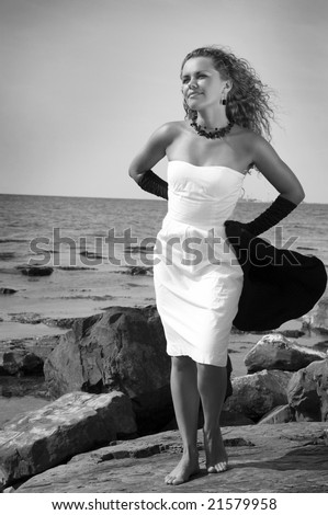 The beautiful girl by the sea ( black /white)