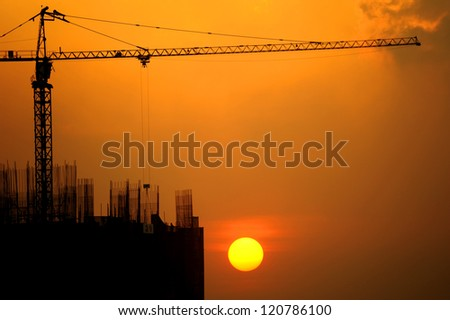 The building construction with sunset - stock photo