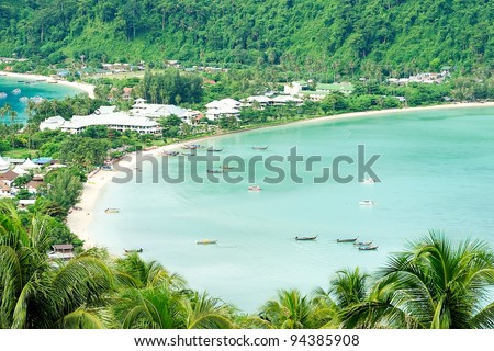 the clear sea Phi Phi at thailand - stock photo