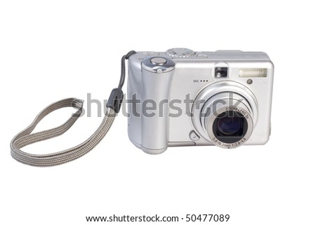 The compact digital camera isolated on white - stock photo
