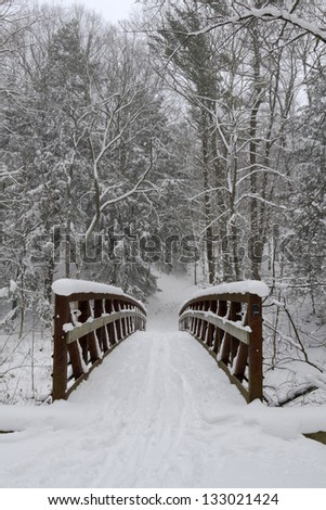"""The Crossing"" -- A bridge stretches over a small creek after a winter storm passes through. - stock photo"