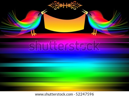 The Decorative background with bird on rainbow.