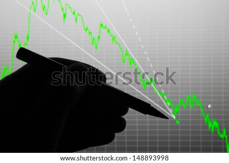 The economic crisis. Falling economic indicators. The analysis of the chart of data on the display. Recession - stock photo