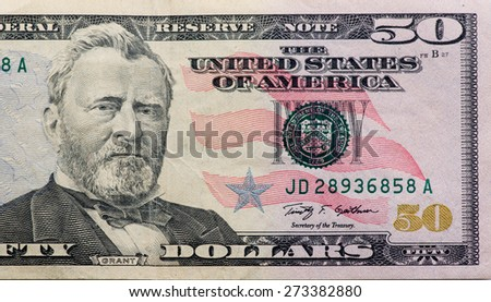 The fifty dollars  e background - stock photo
