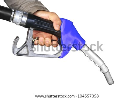The fuel supply, blue pump needle - stock photo