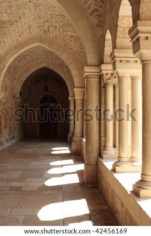 The gallery of the Church of Nativity, Bethlehem - stock photo