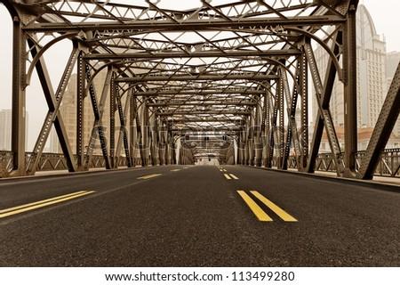 the Garden Bridge of shanghai china. - stock photo
