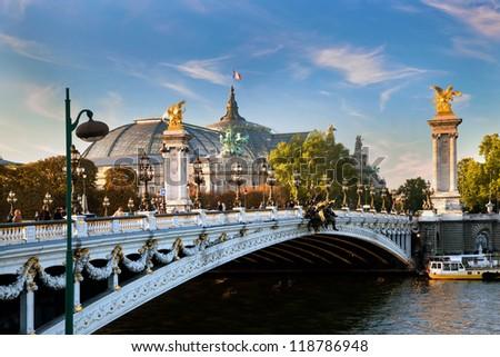 The Grand Palais, Paris, France and the Alexandre Bridge. - stock photo
