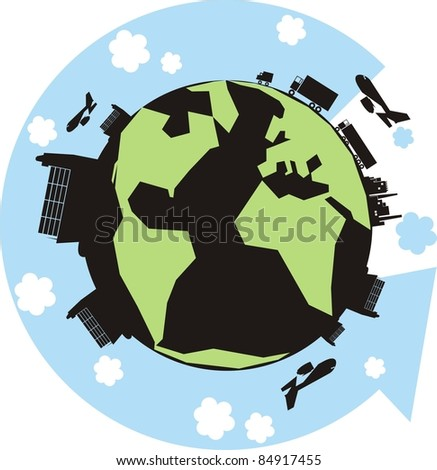 """The Green Cargo Planet"" color vector illustration - Earth with factories, warehouses, trucks, container ships, vans, cars and an arrow showing the supply chain - stock photo"