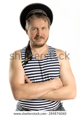 """The handsome man"" isolated on a white ""sailor"" - stock photo"