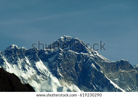 The highest peak in the world located in the middle ranges of the Himalayas