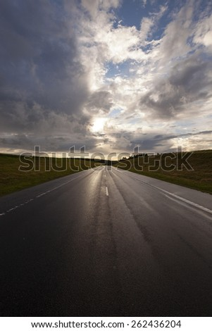 the highway in storm weather. Belarus - stock photo