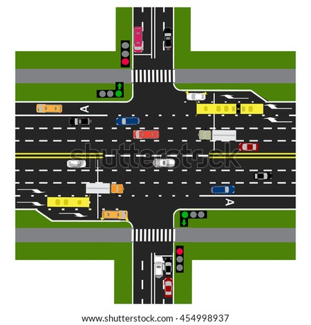 The highway intersects with the road. With the cars and traffic lights. Green signal to the main road. Loaded with road maps and public transport. Top view of the highway. Raster illustration