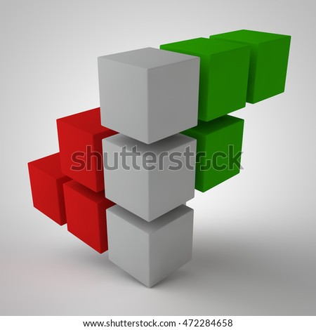 the image of the array of cubes of red, green and white color on a white background, 3d rendering