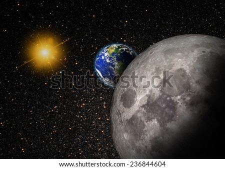 "The image of the sun , moon and World from space ""Elements of this image furnished by NASA "" - stock photo"