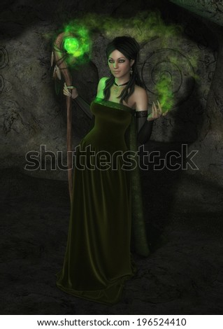 'The Jade Witch', digital fantasy illustration of beautiful dark-haired woman in green, casting strange green magic, holding a staff with a magical orb. - stock photo
