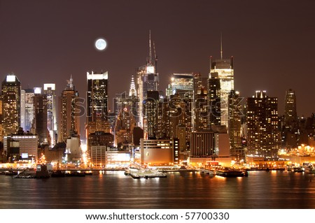 The Mid-town Manhattan Skyline in New York City