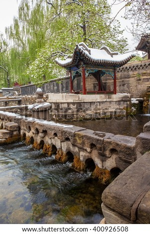 The Nanlao Spring- one of three most famous views in Jinci museum. Jinci is a famous old garden of China. It lies in the southwest of Taiyuan. It is also an interest place of Shanxi - stock photo