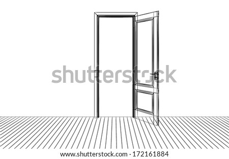 the opening door,3D  wire frame isolate on white - stock photo