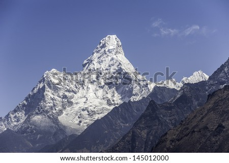 the peak of the Ama Dablam massif - Everest region, Nepal Himalayas