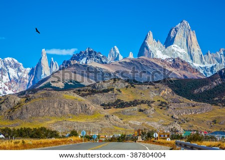 The road to the snow-white rocks Fitz Roy and tourist center of El Chalten. Incredible Patagonia - stock photo