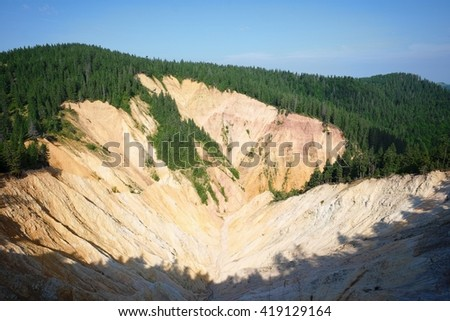 the Rusty Pit in the Apuseni Mountains near Vartop, Romania - stock photo