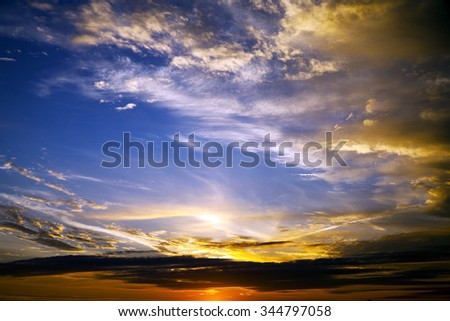 the sky at sunset. colorful clouds in the sky. autumn - stock photo