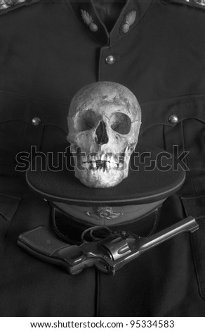 4. The Soldier - From the series 'The Seven Ages of Skull', images based on a monologue from William Shakespeare's play 'As You Like It'. - stock photo