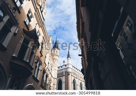the streets of Riga in Latvia houses and cafes and castles - stock photo