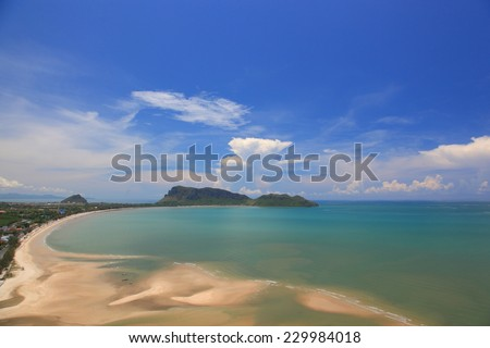 the tropical beach of Prachuap Khiri Khan, Ao Manao Bay. Aerial view from Khao Chong Krajok temple top view point.  - stock photo