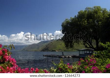 The view of Lake Toba from Tongging village, North Sumatera, island of Sumatra, Indonesia - stock photo