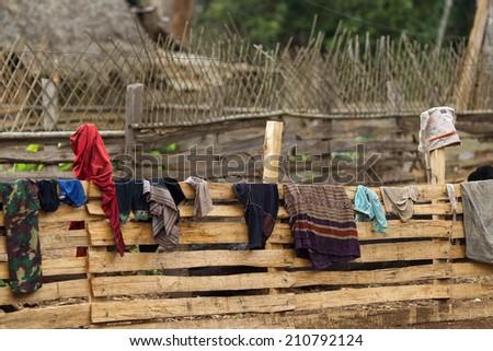 The village of Xekong, Laos - stock photo