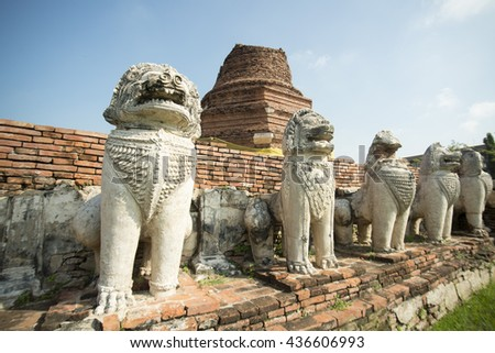 the Wat Thammikarat in the city of Ayutthaya north of bangkok in Thailand in southeastasia.