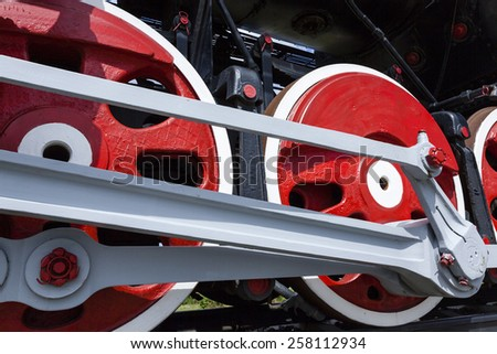 the wheels of the old train photographed by a close up - stock photo